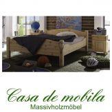 Massivholz Doppelbett Kiefer massiv natur lackiert Holzbett Überlänge kieferbett Bett ROJA - 160x220.