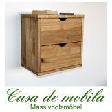 Massivholz Hängeregal Eiche / Wildeiche TAKE IT! - mit 2 Schubladen, natur geölt/gewachst