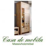 Massivholz Highboard Vitrinenschrank Holz Kernbuche massiv geölt - MESSINA