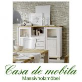 Massivholz Highboard Guldborg - Holz Kiefer massiv 2-farbig weiß lasiert / gelaugt-geölt