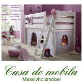 Massivholz Hochbett Buche massiv weiß HANNOVER - Kinderbett mit Vorhang und Schrägleiter