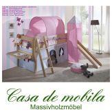 Massivholz Hochbett holz Buche massiv lackiert HANNOVER - Kinderbett mit Vorhang, Schreibtisch, Schrägleiter und Rutsche