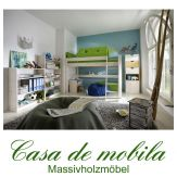 Massivholz Hochbett Kiefer massiv weiß TOBYKIDS - Kinderbett mittelhoch mit Tunnelzelt Lime