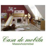 Massivholz Hochbett Kiefer massiv TOBYKIDS - Kinderbett halbhoch mit Rutsche