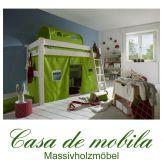 Massivholz Hochbett Kiefer massiv weiß TOBYKIDS - Kinderbett mittelhoch mit Vorhang Lime