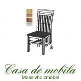 Massivholz Stuhl mit Polster Kiefer massiv gelaugt geölt SKAGEN - Holzstuhl Küchenstuhl Esszimmerstuhl