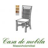 Massivholz Stuhl Kiefer massiv weiß lasiert SKAGEN - Holzstuhl Küchenstuhl Esszimmerstuhl