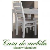 Massivholz Stuhl Kiefer massiv weiß lasiert KOPENHAGEN / BORG - Holzstuhl Küchenstuhl Esszimmerstuhl