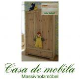 Massivholz Kinderzimmerschrank Kiefer massiv natur lackiert Naturholz Kinderschrank GULDBORG