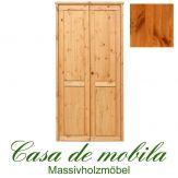 Massivholz Kleiderschrank Holz Kiefer massiv provance/honig lackiert Schlafzimmerschrank RAUNA - 2-türig mit glatter Front