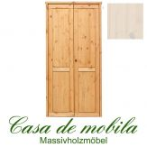 Massivholz Kleiderschrank Holz Kiefer massiv weiß lasiert Schlafzimmerschrank RAUNA - 2-türig mit glatter Front
