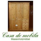 Massivholz Kleiderschrank Kiefer massiv gelaugt geölt Schlafzimmerschrank naturholz RAUNA - 3-türig,