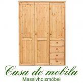 Massivholz Kleiderschrank holz Kiefer massiv natur lackiert Schlafzimmerschrank RAUNA - 3-türig mit glatter Front