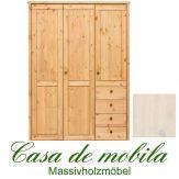 Massivholz Kleiderschrank Holz Kiefer massiv weiß lasiert Schlafzimmerschrank RAUNA - 3-türig mit glatter Front