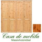 Massivholz Kleiderschrank Holz Kiefer massiv provance/honig lackiert Schlafzimmerschrank RAUNA - 4-türig mit glatter Front
