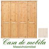 Massivholz Kleiderschrank Holz Kiefer massiv weiß lasiert Schlafzimmerschrank RAUNA - 4-türig mit glatter Front