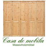 Massivholz Kleiderschrank Holz Kiefer massiv gelaugt/geölt Schlafzimmerschrank RAUNA - 5-türig, glatte Front
