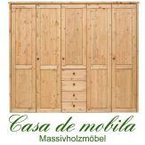 Massivholz Kleiderschrank Holz Kiefer massiv gelaugt/geölt Schlafzimmerschrank RAUNA - 5-türig mit  glatter Front