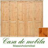 Massivholz Kleiderschrank Holz Kiefer massiv provance/honig lackiert Schlafzimmerschrank RAUNA - 5-türig, glatte Front