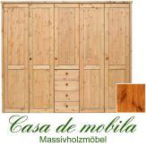 Massivholz Kleiderschrank Holz Kiefer massiv provance/honig lackiert Schlafzimmerschrank RAUNA - 5-türig mit  glatter Front