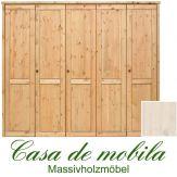 Massivholz Kleiderschrank Holz Kiefer massiv weiß lasiert RAUNA - 5-türig, glatte Front