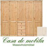 Massivholz Kleiderschrank Holz Kiefer massiv weiß lasiert Schlafzimmerschrank RAUNA - 5-türig mit  glatter Front
