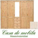 Massivholz Kleiderschrank Holz Kiefer massiv weiß lasiert Schlafzimmerschrank RAUNA - 5-türig mit Spiegel und glatter Front