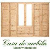 Massivholz Kleiderschrank Holz Kiefer massiv gelaugt/geölt Schlafzimmerschrank RAUNA - 6-türig mit Spiegeltüren und Kasetten-Front
