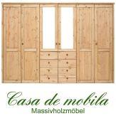 Massivholz Kleiderschrank Holz Kiefer massiv gelaugt/geölt Schlafzimmerschrank RAUNA - 6-türig mit Spiegeltüren und glatter Front
