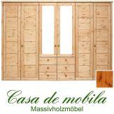 Massivholz Kleiderschrank Holz Kiefer massiv provance/honig lackiert Schlafzimmerschrank RAUNA - 6-türig mit Spiegeltüren und Kasetten-Front