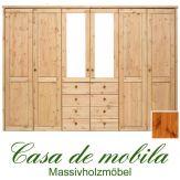 Massivholz Kleiderschrank Holz Kiefer massiv provance/honig lackiert Schlafzimmerschrank RAUNA - 6-türig mit Spiegeltüren und glatter Front