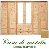 Massivholz Kleiderschrank Holz Kiefer massiv natur lackiert Schlafzimmerschrank RAUNA - 6-türig mit Spiegeltüren und Kasetten-Front