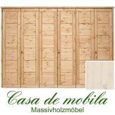 Massivholz Kleiderschrank Kiefer massiv weiß lasiert Schlafzimmerschrank RAUNA - 6-türig mit Kassetten-Front