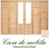 Massivholz Kleiderschrank Holz Kiefer massiv weiß lasiert Schlafzimmerschrank RAUNA - 6-türig mit Spiegeltüren und Kasetten-Front