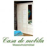 Massivholz Kleiderschrank Kiefer massiv weiß lasiert Schlafzimmerschrank RAUNA - 3-türig mit Spiegel und Kassetten-Front