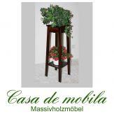 Massivholz Blumenhocker kolonial Blumentisch DECOR - 80cm, Pappel massiv wenge braun gebeizt lackiert