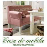 Tischsofa Friesensofa LINZ - Küchensofa Landhausstil mit Federkern und rotem Stoffbezug