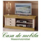 Massivholz TV-Kommode TV-Schrank landhausstil Kiefer massiv 2-farbig weiß / gebeizt-geölt BERGEN  Fernsehkommode