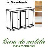 Massivholz Sideboard Kiefer massiv 2-farbig honig lackiert / weiß lasiert GOSLAR - Anrichte mit Sockelblende Kommode