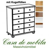 Massivholz Apothekerschrank Kiefer massiv provance / honig lackiert GOSLAR - Schubladenkommode mit Kugelfüßen