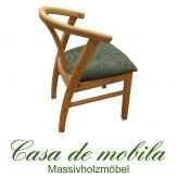 Massivholz Armlehnstuhl gepolstert Kiefer massiv gelaugt geölt FARO stuhl mit armlehne Holzstuhl Esszimmerstuhl
