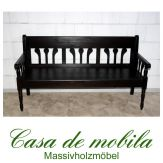 Massivholz Sitzbank 3-Sitzer mit Rückenlehne Kiefer massiv kolonial lackiert LANDHAUS - Küchenbank Bank