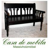 Massivholz Sitzbank 2-Sitzer mit Rückenlehne Kiefer massiv kolonial lackiert LANDHAUS - Küchenbank Bank