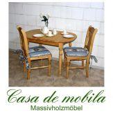 Massivholz Tischgruppe kiefer massiv gelaugt geölt LANDHAUS Essgruppe Tisch mit 2 Stühlen