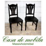 2er-Set Stuhl Stühle kolonial Kiefer massiv lackiert LANDHAUS - Holzstühle Küchenstühle