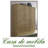 Massivholz Kleiderschrank Kiefer massiv lackiert Kinderkleiderschrank JONAS - 3-türig,naturholz