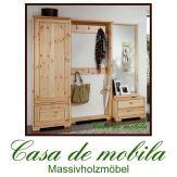 Massivholz Flurmöbel Set Kiefer massiv lackiert Dielenmöbel naturholz Garderobenmöbel  GULDBORG Garderobenset