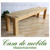Massivholz Sitzbank kiefer massiv gelaugt geölt naturholz Bank 180cm GULDBORG lackiert / honig / weiß