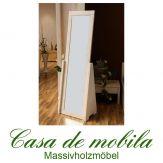Massivholz Standspiegel Spiegel Kiefer massiv RAUNA - 58x188, weiß lasiert