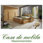 Massivholz Schlafzimmer komplett Kernbuche / Buche massiv CARO - mit Schubladen-Bett 140x200